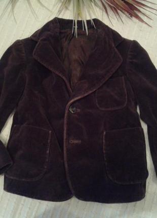Стильный велюровый пиджак на модника р.98-104