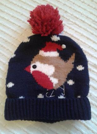 Красивая теплая шапка прим на 1-3 года