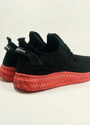 Топ кроссовки мужские черные красные летние дышащие