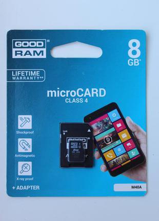Карта памяти microCARD(microSD) от GOOD RAM на 8GB+ АДАПТЕР