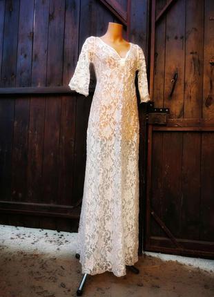 Кружевное ажурное платье туника пляжное пеньюар длинное макси ...