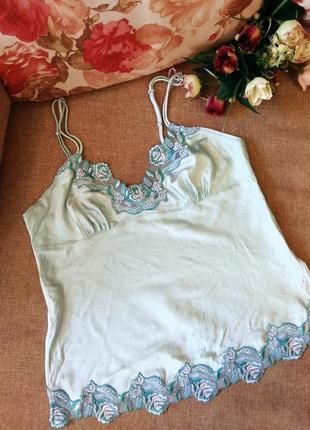 Майка/топ/блузка на тонких бретелях в бельевом стиле из натура...