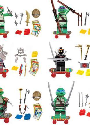 Фигурки черепашки-ниндзя на скейтах лего, lego аналог