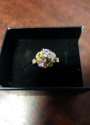 Кольцо золото 585 проба с натуральными камнями