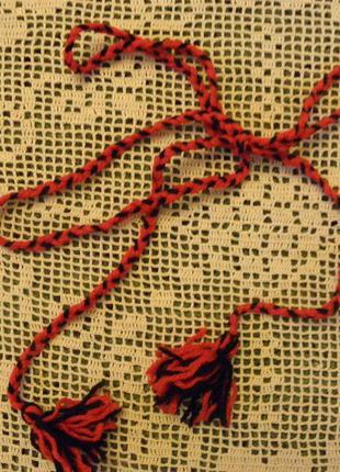 Пояс вязанный к детской вышиванке