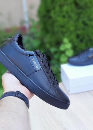 10232 Calvin Klein кеды мужские черные кожаные кожа кроссовки ...