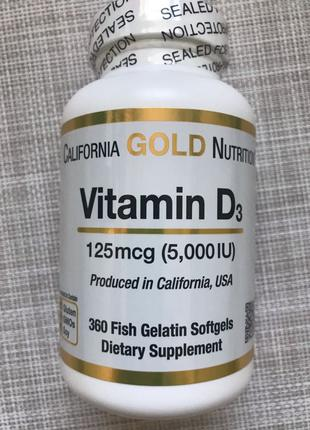 California Gold Nutrition, Витамин Д3 , D3 , Д3 5000 me ,360 шт