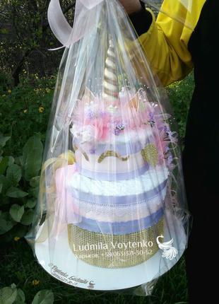Единорог- торт из памперсов/ подгузников и вещей подарок на вы...