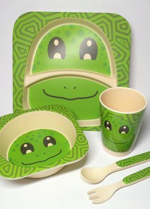 Набор детской посуды из бамбукового волокна, экологическая посуда