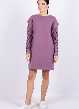 Платье женское  из плотного трикотажа прямого силуэта по колено