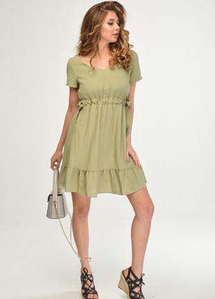 Платье женское летнее цвета хаки льняное свободного кроя