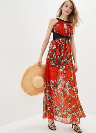 Сарафан женский летний красного цвета длинный в пол шифоновый