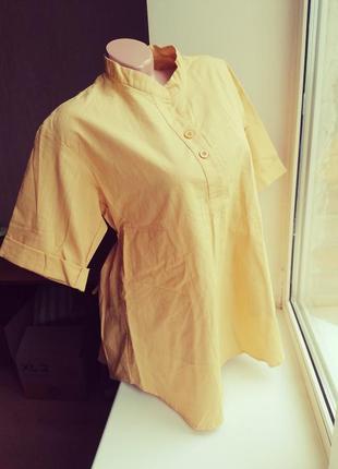 Натуральная желтая рубашка интересного кроя 100 % органик като...