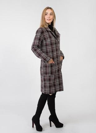 Осеннее пальто женское в клетку