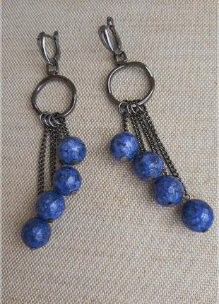 Синие серьги. длинные серьги. серьги из натуральных камней. се...