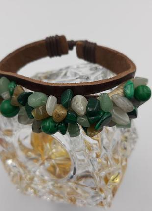 Кожаный браслет с натуральными камнями