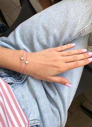 Двойной браслет розовая нить с сердцами