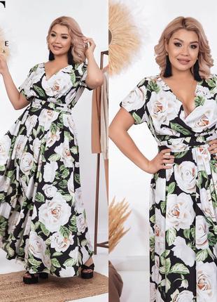 Платье в пол белые розы большого размера с 50 по 64