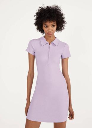Платье поло от bershka в трендовом  лиловомцвете s m