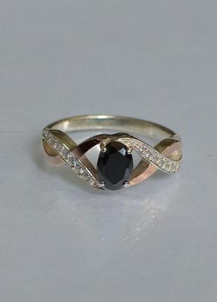 Кольцо серебряное с золотом 143к черное