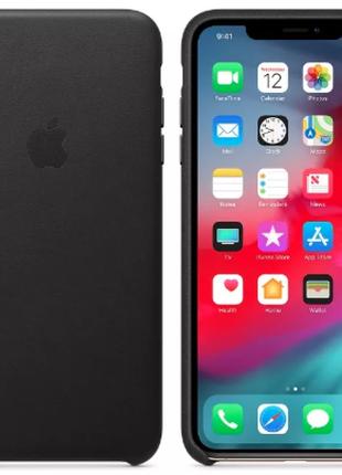 Оригинальный чехол iPhone Xs Max Leather Case Black (MRWT2)