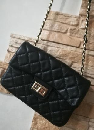 Маленькая стеганая кожаная сумочка на цепочке,сумка кроссбоди ...