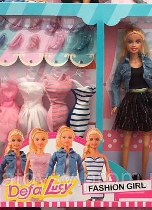 Игровой набор кукла с нарядами Defa 8426, косметика, аксессуары