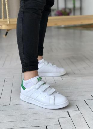 Женские кроссовки на липучках adidas stan smith