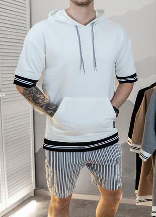 Комплект худи лето + шорты белого цвета