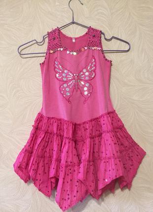 Летнее детское платье сарафан с паетками