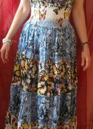 Платье макси хлопок бабочка размер 50-52