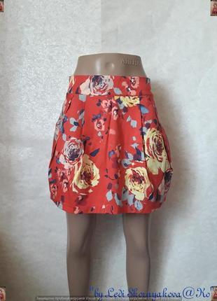 """Новая мини-юбка в яркий принт """"крупные розы"""" с натурального хл..."""