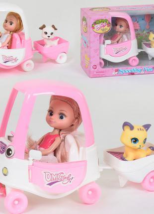 Кукла с машиной и с питомцем