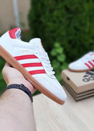 10226 Adidas Samba Белые кеды мужские кожаные кожа адидас кеди...