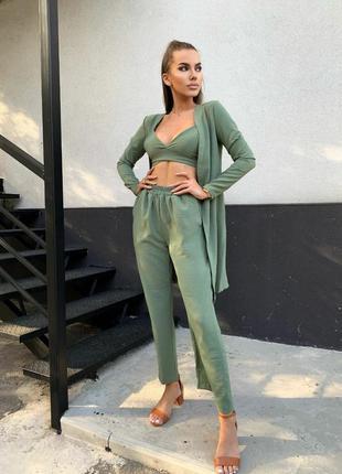 Лляний жіночий костюм трійка штани кюлоти+топ+накидка