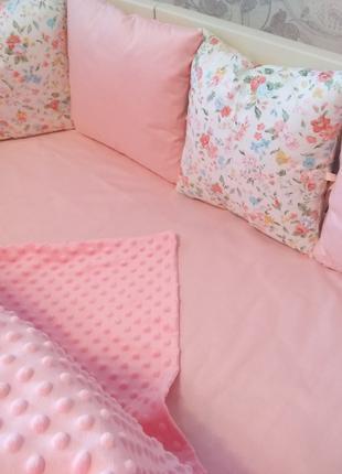 Бортик в кроватку (розовый) с кошками MamBaby