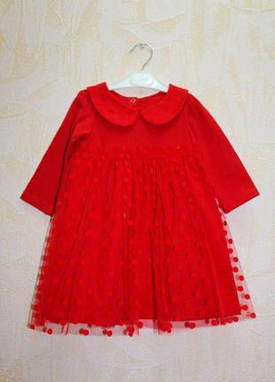 Платье красное с воротничком