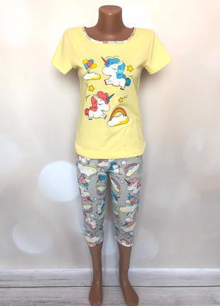 Пижама женская единороги с бриджами