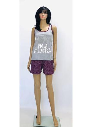 Трикотажная пижама майка и шорты