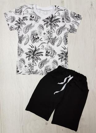 Костюм футболка + шорты с карманами черепа