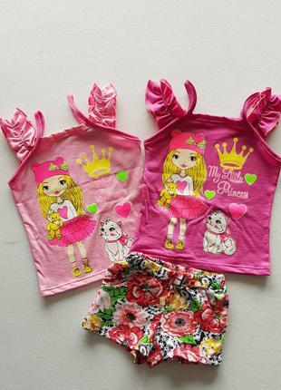 Комплект топ+шорты цветочные