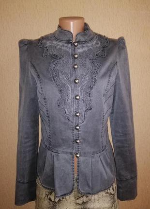 Стильный котоновый женский пиджак, жакет, куртка на пуговицах ...