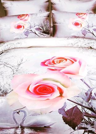 Комплект постельного белья евро двуспальный 3D розовые розы