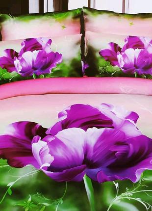 Комплект постельного белья евро двуспальный 3D тюльпан