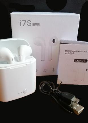 Беспроводные наушники I7S tws Bluetooth,с кейсом для зарядки