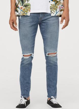 Голубые джинсы h&m ,  trashed skinny !