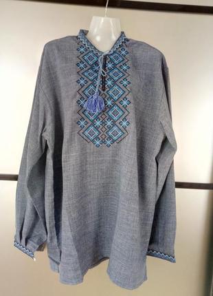 Мужская вышиванка лен,размер 54