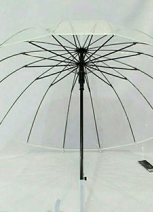 Женский прозрачный зонт-трость в чехле на 16 спиц белая ручка