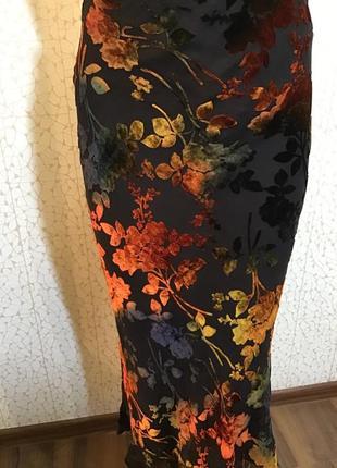 Модная натуральный шелк юбка с бархатными цветами они перелива...