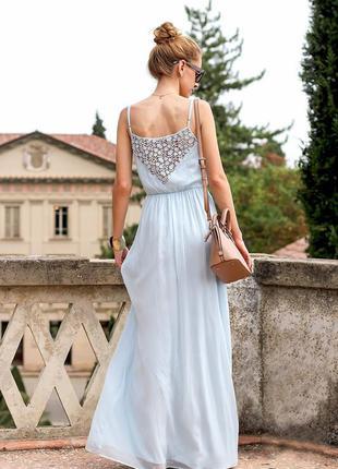 Платье в пол zara красивого нежно голубого цвета
